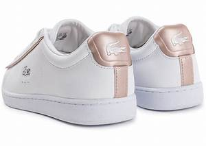 Lacoste Carnaby EVO blanche et rose perle Chaussures pour Lycéens Chausport