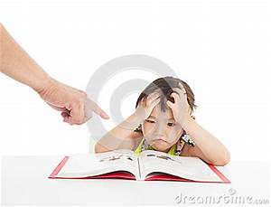 Angry And Tired Little Girl Studying Royalty Free Stock ...