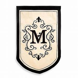 buy monogrammed letter quotmquot fleur estate outdoor flag from With large monogram letters for outside