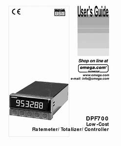 Omega Dpf700 Ratemeter Totalizer Controller