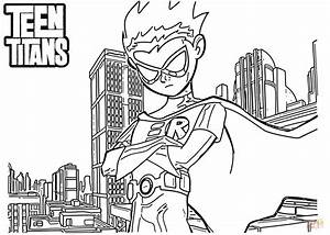 Robin From Teen Titans Coloring Page Free Printable