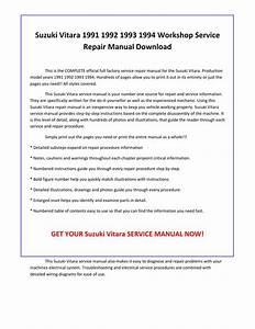Suzuki Vitara 1991 1992 1993 1994 Service Repair Manual Pdf Download By Sparchita3