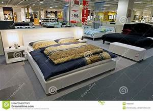Large King Size Beds In Furniture Store Editorial