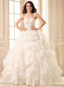 ball gown sweetheart floor length organza wedding dress With cascading ruffles wedding dress