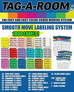 tag a room color coded home moving box labels with door With colored stickers for moving