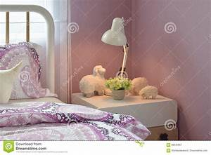 Cozy Bedroom Interior With Decorative Sheep Dolls And
