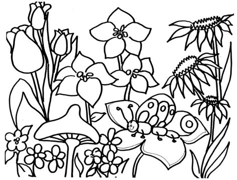 flower garden coloring page coloring page book  kids