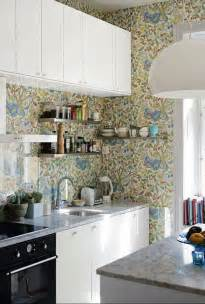 wallpaper ideas for kitchen 35 ideas of creative wallpapers on a kitchen shelterness