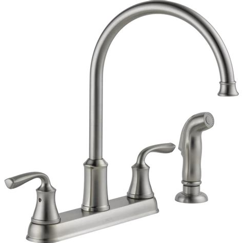 high arc kitchen faucets shop delta lorain stainless 2 handle deck mount high arc