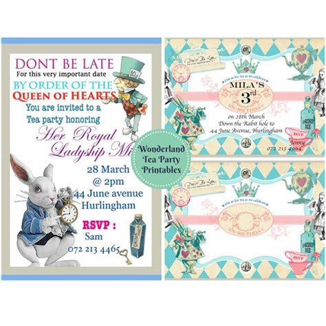 wonderland tea party invitation and food label printables living and loving