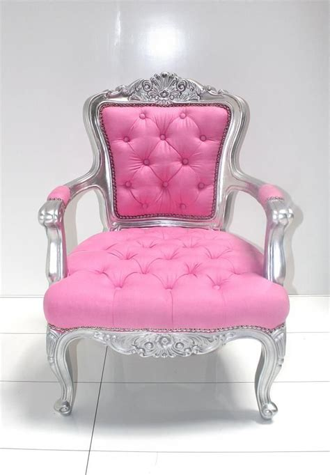 silver pink tufted chair house