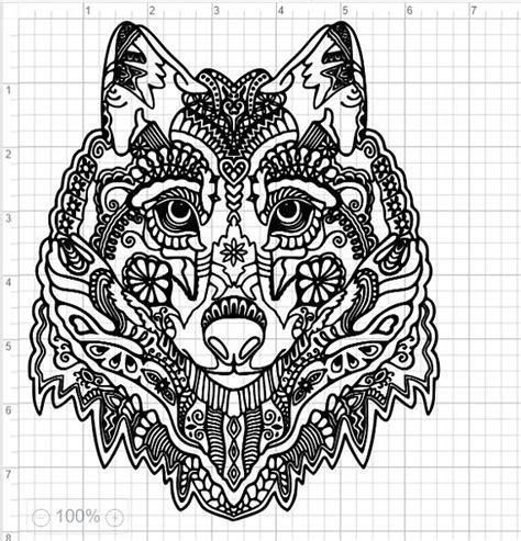 mandala wolf head svg eps dxf studio cut files