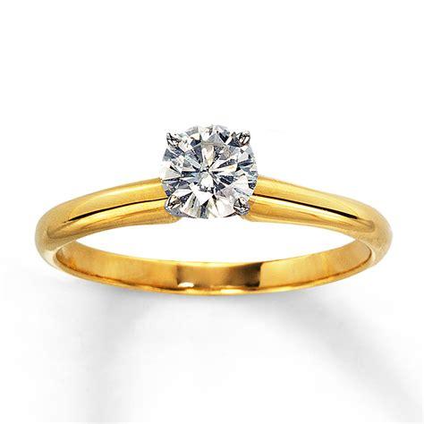 diamond solitaire ring 1 2 carat cut 14k yellow gold 150356006