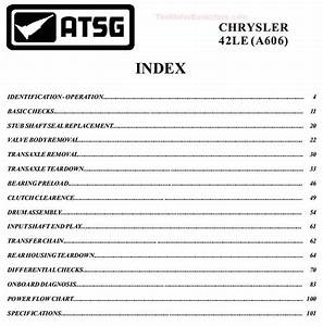 Chrysler Dodge 42le  A606  Transaxle Rebuild Manual On Cd