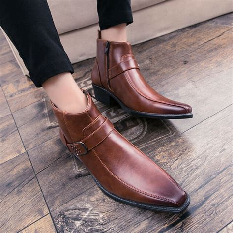 Mens Ankle Boot Casual Pointy Toe Chunky Leather Business ...