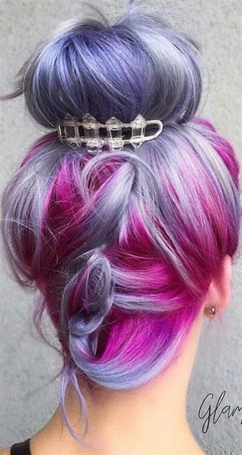 Purple Fuchsia Pink Dyed Hair Updo Pulpriothair Dyed