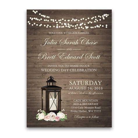 Rustic Wedding Invitations Metal Lantern Blush Florals