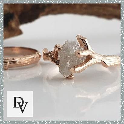 Raw Diamond Twig Ring Uncut Engagement Leaf