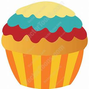 Cartoon Clipart: Vanilla Cupcake With Yellow, Blue And Red ...