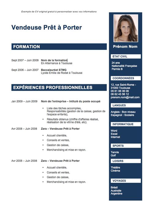 Un Cv Modele by Photo Modele Cv D Un Etudiant