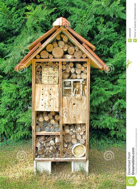 native mason bee nesting box tree house complex stock