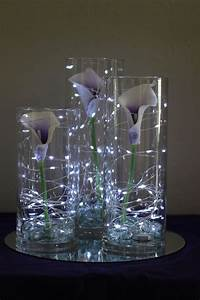 Picasso, Calla, Lilies, In, Cylinder, Vases, With, Fairy, Lights, Celebration, Flair