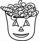 Candy Coloring Halloween Pages Printable Bucket Corn Cane Drawing Christmas Bag Sheets Toddlers Canes Spooky Print Popcorn Easy Party Getcolorings sketch template