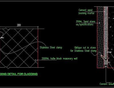 stone wall cladding construction detail autocad dwg