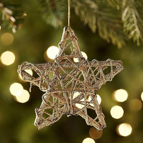 rattan star ornament gold natural rattan  stars