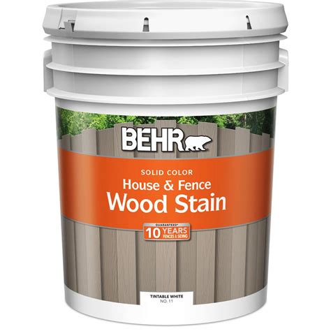 behr  gal white solid color house  fence wood stain