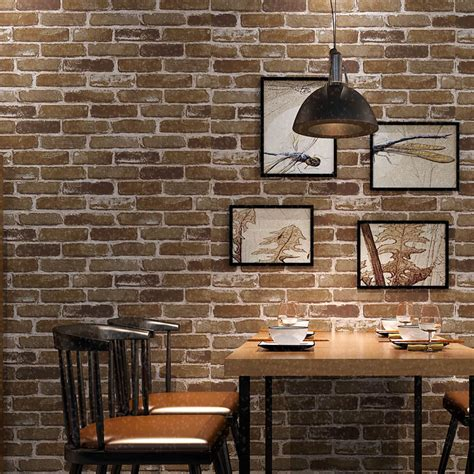 brick feature wall brown brick wallpaper