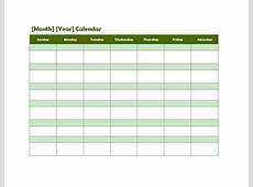 Monthly Blank Calendar in Green Shade Free Printable