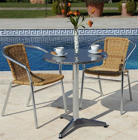 aluminium bistro set table and 2 chairs patio furniture