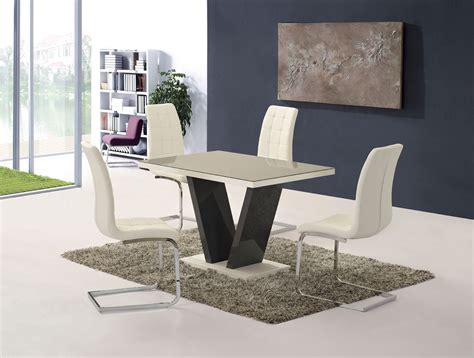 grey high gloss glass dining table   white chairs
