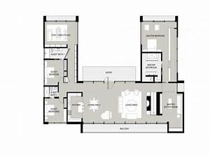 U-shaped One Story House U shaped House Plans, garden home