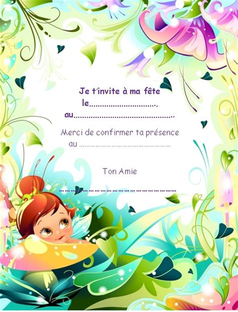 invitations anniversaire fille