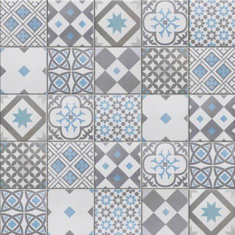 frise cuisine autocollante mosaïque sol et mur gatsby décor gris et bleu leroy merlin