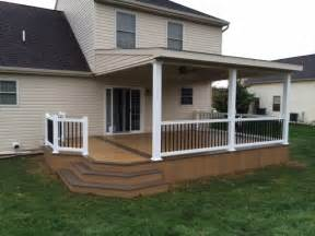 Adding A Pergola To An Existing Deck by Lean To Roof Over Two Toned Clubhouse Deck Modern Deck