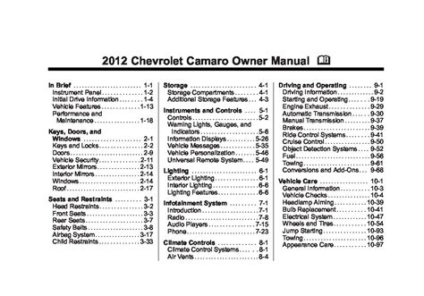 chevrolet camaro owners manual  give