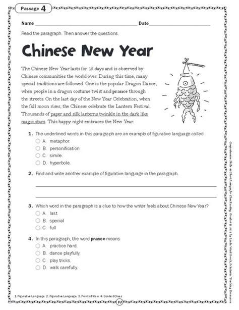 comprehension skills passages for reading grade 4