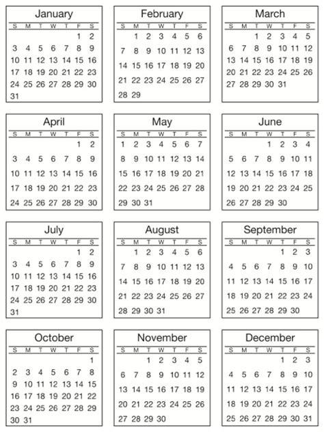 discontinued mini calendar sticker standard