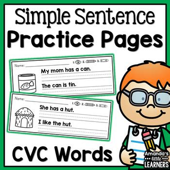 Be about to, bound to, likely to, due to, set to + inf) future simple tense expressed with will future simple vs future continuous future tenses genitive s vs of (expressing possession) gerunds gerunds and infinitives gerunds: Simple Sentence Practice Strips - CVC Words by Amanda's ...