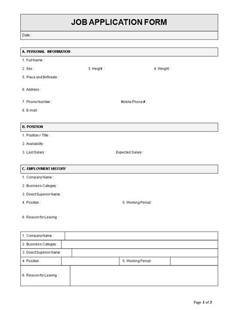Easy Application by Employee Application Form Template Employee Job