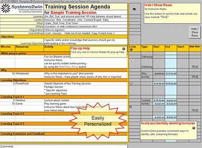 Excel Training Template Plan Workout Agenda Schedule