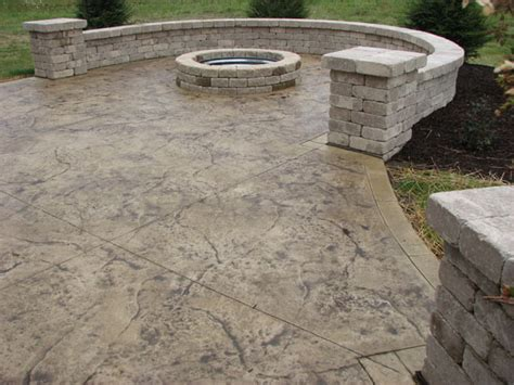 sted concrete patio with firepit for the garden