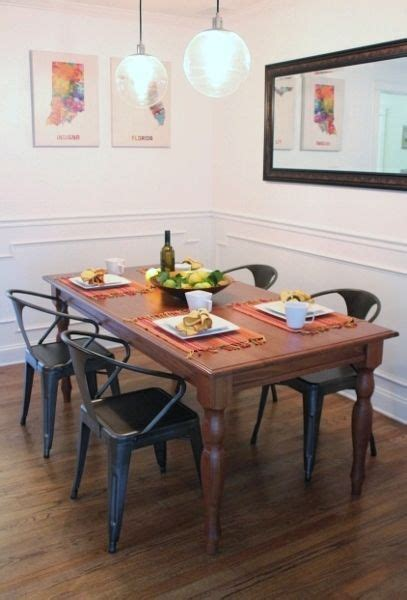 farmhouse table and vintage metal chairs budget decor