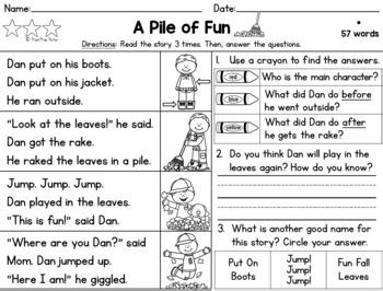 Differentiated Reading Passages And Questions Fall Grade 1 By Meet Miss Parker