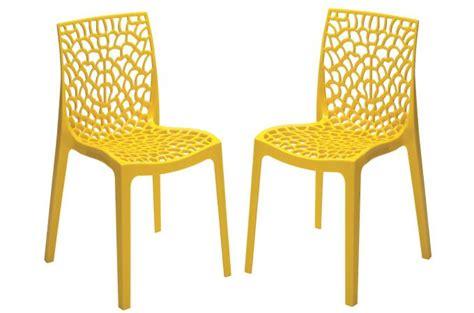 chaise de bureau jaune lot de 2 chaises design jaune perle gruyer opaque chaise