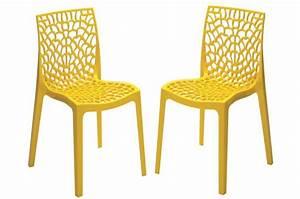 Lot De Chaises Design Pas Cher : lot de 2 chaises design jaune perle gruyer opaque chaise design pas cher ~ Melissatoandfro.com Idées de Décoration