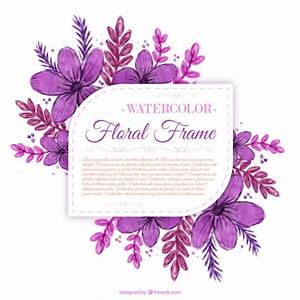 Hand painted purple flowers label Vector | Free Download